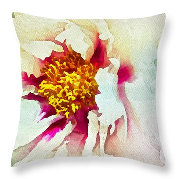 White Peony Throw Pillow