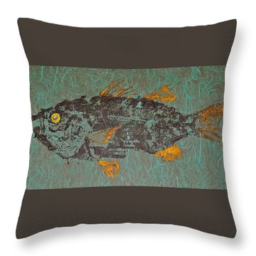 White  Perch With Yellow Perch Throw Pillow