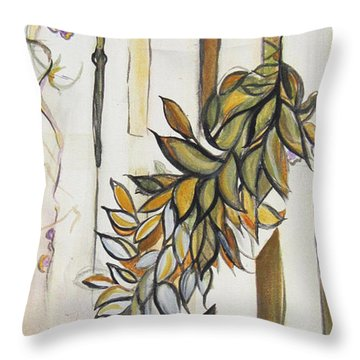 White Pickett Fence Throw Pillow by Carrie Jackson