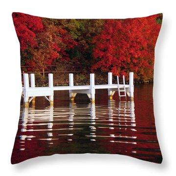 White Pier - Lake Geneva Wisconsin Throw Pillow