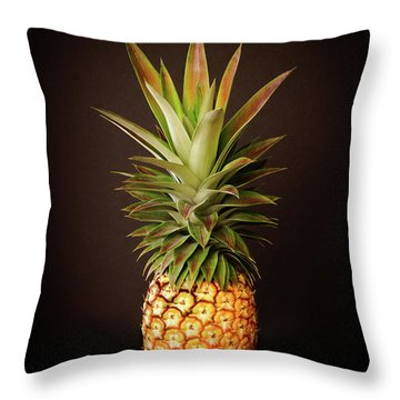 White Pineapple King Throw Pillow