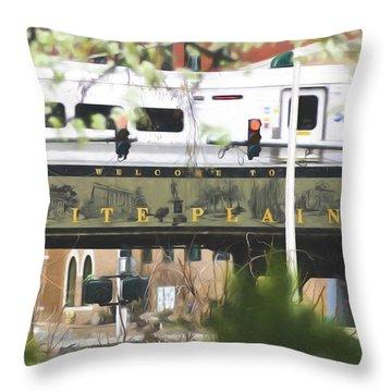 White Plains Train Station Throw Pillow