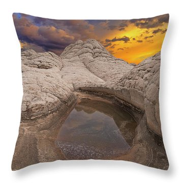 White Pocket Sunset Throw Pillow