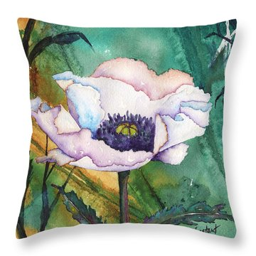 White Poppy On Teal Throw Pillow by Renee Chastant