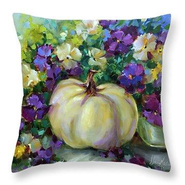 White Pumpkin And Fall Violas Throw Pillow