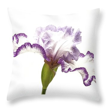 White Purple Iris Throw Pillow