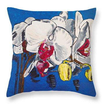 White Purple Phalaenopsis Orchids Throw Pillow by Valerie Ornstein