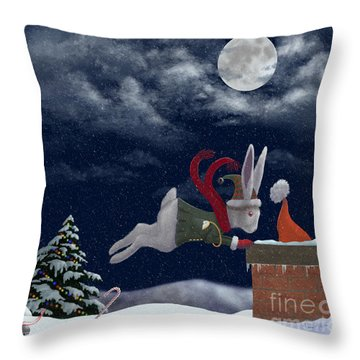 White Rabbit Christmas Throw Pillow by Audra Lemke