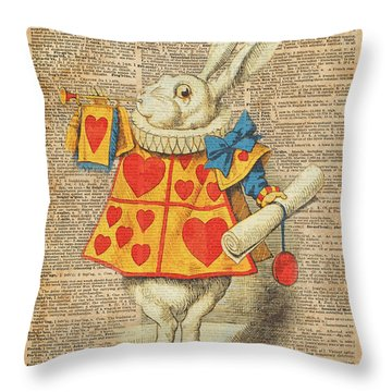 White Rabbit With Trumpet Alice In Wonderland Vintage Dictionary Artwork Throw Pillow