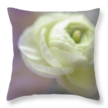Throw Pillow featuring the photograph White Ranunculus Bud by Jenny Rainbow