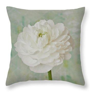 White Ranunculus Throw Pillow by Sandra Foster