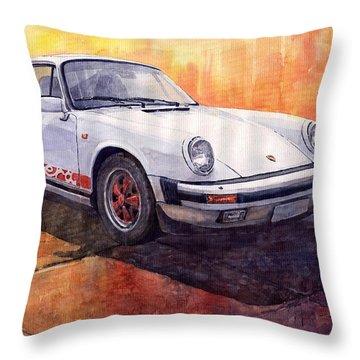 White Red Legend Porsche 911 Carrera Throw Pillow