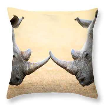 White Rhinoceros  Head To Head Throw Pillow