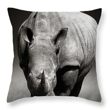 White Rhinoceros  In Due-tone Throw Pillow