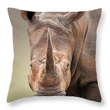 White Rhinoceros Portrait Throw Pillow