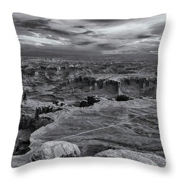White Rim Overlook Monochrome Throw Pillow