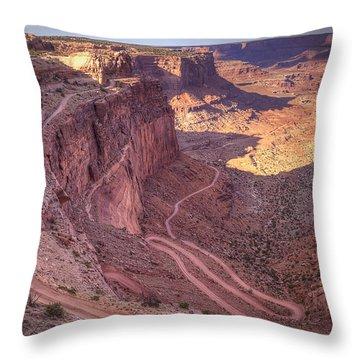 White Rim Road Throw Pillow