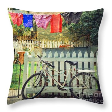 Throw Pillow featuring the photograph White River Bicycle by Craig J Satterlee