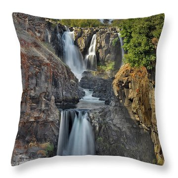 White River Falls State Park Throw Pillow by David Gn