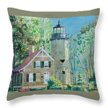 Throw Pillow featuring the painting White River Light by LeAnne Sowa
