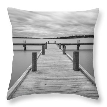 White Rock Lake Pier Black And White Throw Pillow