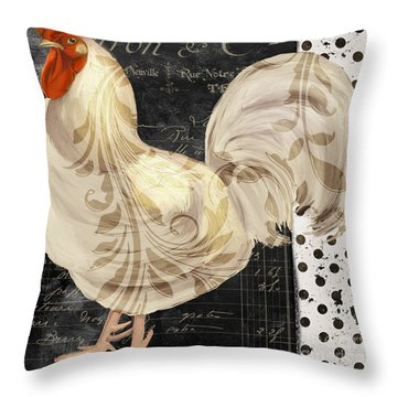 White Rooster Cafe II Throw Pillow