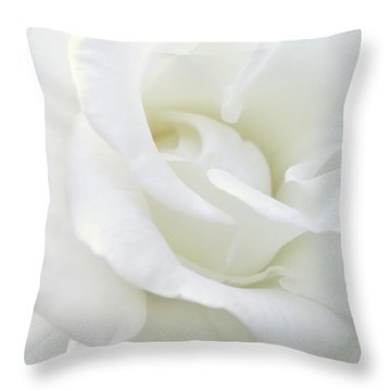 White Rose Angel Wings Throw Pillow