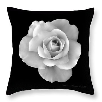 White Rose Flower In Black And White Throw Pillow