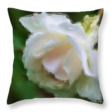 White Rose In Paint Throw Pillow