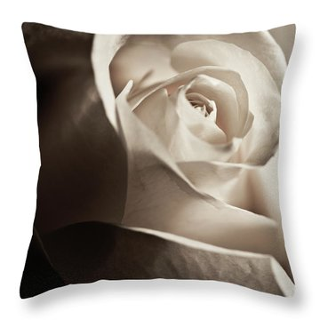 Throw Pillow featuring the photograph White Rose In Sepia 2 by Micah May