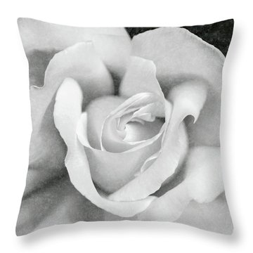 Throw Pillow featuring the photograph White Rose Macro Black And White by Jennie Marie Schell