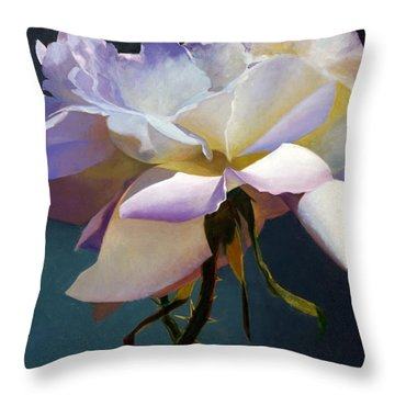 White Rose Of Eden Throw Pillow