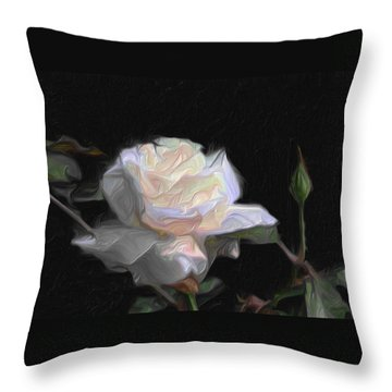 White Rose Painting Throw Pillow by Don  Wright