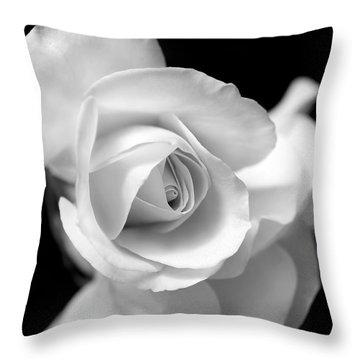White Rose Petals Black And White Throw Pillow
