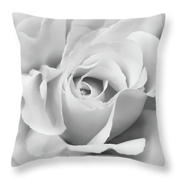 Throw Pillow featuring the photograph White Rose Ruffles Monochrome by Jennie Marie Schell