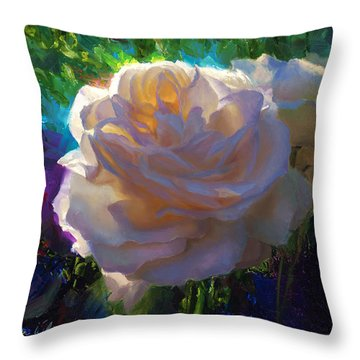 White Roses In The Garden - Backlit Flowers - Summer Rose Throw Pillow