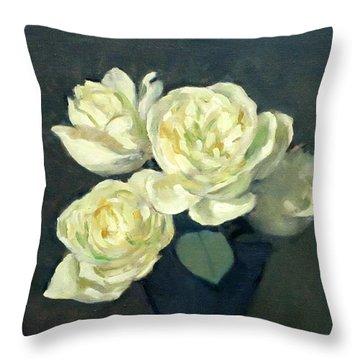 Four White Roses In Trumpet Vase Throw Pillow