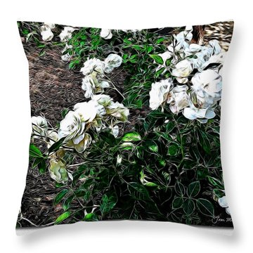 Throw Pillow featuring the photograph White Roses by Joan  Minchak