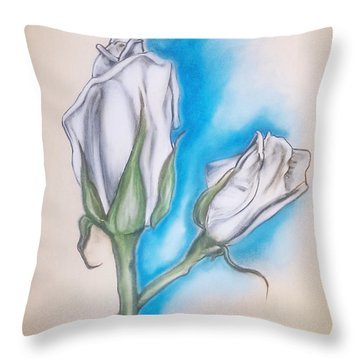 Throw Pillow featuring the pastel White Roses by Keith A Link