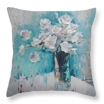 White Roses Palette Knife Acrylic Painting Throw Pillow