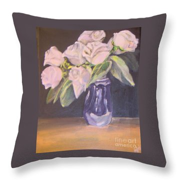 Throw Pillow featuring the painting White Roses by Saundra Johnson