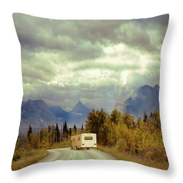 White Rv In Montana Throw Pillow by Jill Battaglia