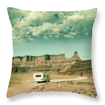 White Rv In Utah Throw Pillow by Jill Battaglia