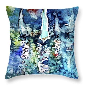 White Sailboats At Sunset Throw Pillow by Kovacs Anna Brigitta
