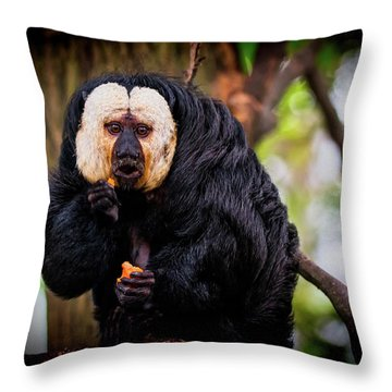 Throw Pillow featuring the photograph White Saki by The 3 Cats