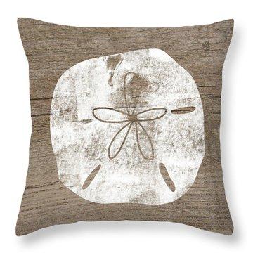 White Sand Dollar- Art By Linda Woods Throw Pillow