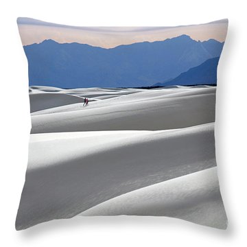 White Sands Hikers Throw Pillow by Martin Konopacki