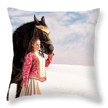 White Sands Horse And Rider #2a Throw Pillow