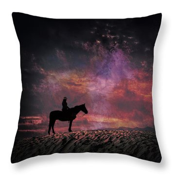 White Sands Horse And Rider #4c Throw Pillow
