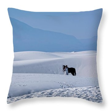 White Sands Horse And Rider #5b Throw Pillow